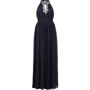 Young Couture Abendkleid mit Collierkragen und Zierperlen