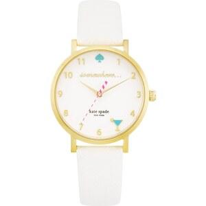 Kate Spade New York Montres, 5 O`Clock Somewhere Metro Watch Gold/White en blanc