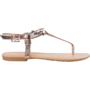 Lesara Zehentrenner-Sandale mit schmalen Riemchen - Roségold - 36