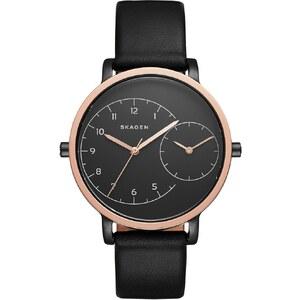 Skagen Montres, Ladies Hagen Dual Timer Leather Watch Black/Black en noir