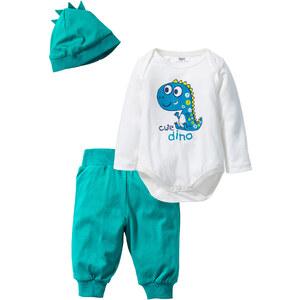 bpc bonprix collection Body bébé à manches longues + pantalon + bonnet (Ens. 3 pces.) en coton bio blanc enfant - bonprix