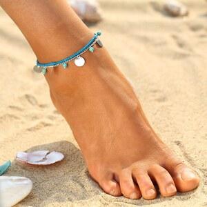 Lesara 2er-Set Fußkette mit Türkis-Perlen & Pailletten
