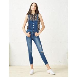 salopette jean super skinny medium blue Jennyfer