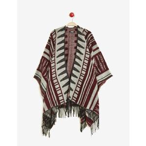cape motif navajo grise, bordeaux et noire Jennyfer