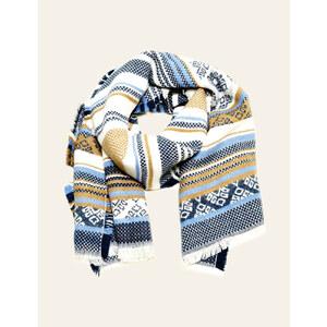 écharpe motif frise bleue, écrue et camel Jennyfer