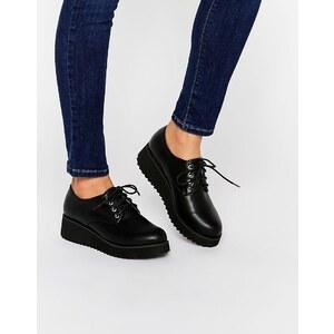 London Rebel - Chaussures lacées à plateforme - Noir