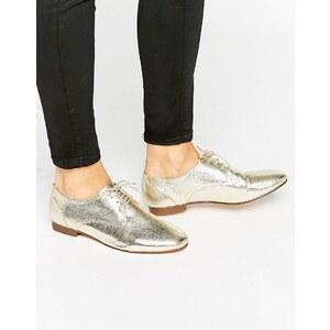 ASOS - MISSION - Chaussures plates à lacets - Doré