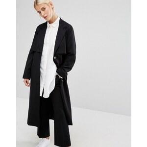 Monki - Veste longue minimaliste - Noir