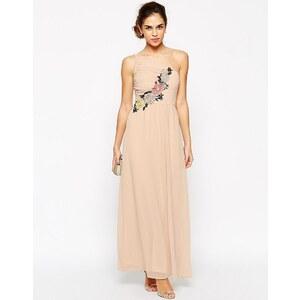 Elise Ryan - Maxi robe plissée asymétrique avec bordure appliquée en crochet - Rose