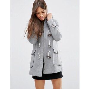 ASOS - Duffle-coat en laine mélangée avec doublure à carreaux et capuche - Gris