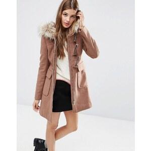 ASOS - Duffle-coat en laine mélangée avec capuche en fausse fourrure - Rose