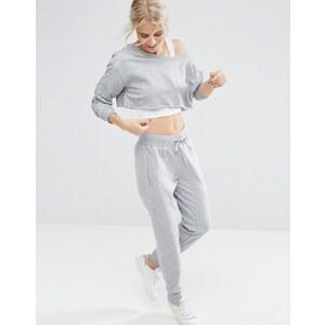 ASOS - Pantalon de jogging chiné avec ourlet irrégulier - Gris