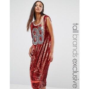 Liquor & Poker Tall - Robe débardeur mi-longue oversize ornée de sequins - Rouge