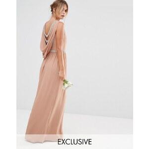 TFNC WEDDING - Robe longue drapée au dos - Beige