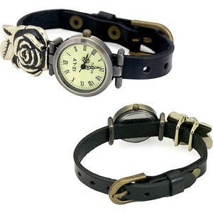 Lesara Uhr mit goldfarbenem Rosenanhänger - Schwarz