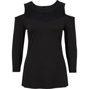BODYFLIRT T-shirt avec découpes noir femme - bonprix