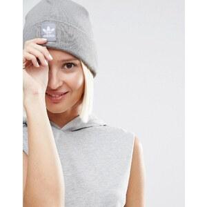 adidas Originals - Bonnet en maille avec étiquette logo - Gris