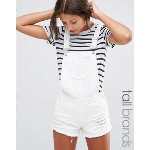 Missguided Tall - Salopette courte en jean effet usé - Blanc