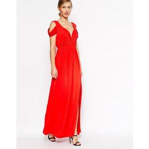 ASOS - WEDDING - Drapiertes Maxikleid mit Schulterausschnitt - Rot