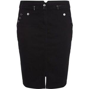 Jupe droite effet faux pont Noir Coton - Femme Taille 38 - Bréal