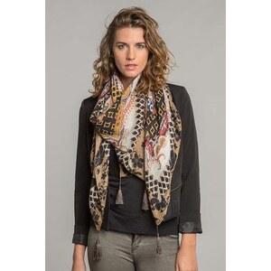 Carré femme imprimé motifs variés Marron Polyester - Femme Taille TU - Bonobo