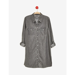 chemise longue en jean grise Jennyfer