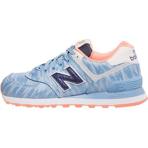 New Balance WL574 Baskets basses blau/weiß/koral