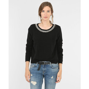 Pull col perles rocaille noir, Femme, Taille L -PIMKIE- MODE FEMME