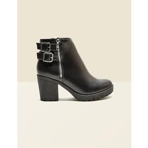 bottines à zips et boucles noires Jennyfer