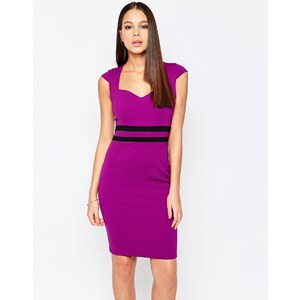 Vesper - Evie - Robe fourreau avec taille contrastante - Violet