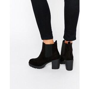 London Rebel - Chelsea-Stiefel mit breitem Absatz - Schwarz
