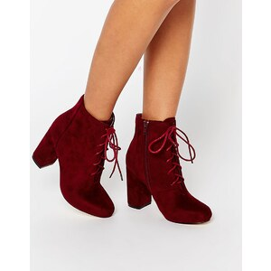London Rebel - Bottines à lacets et talons carrés - Rouge