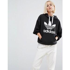 adidas Originals - Sweat à capuche avec logo trèfle - Noir
