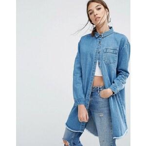 Daisy Street - Veste-chemise en jean décontractée à ourlet brut - Bleu