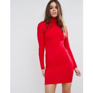 ASOS - Robe col roulé coupe courte moulante - Rouge