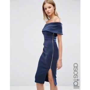 ASOS TALL - Robe asymétrique mi-longue en néoprène épuré à jupe portefeuille - Bleu marine
