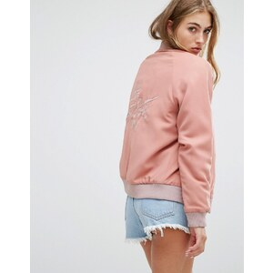 Lovers Friends - Blouson aviateur avec inscription « Let's Get Lost » au dos - Rose