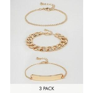 ASOS - Lot de 3 bracelets épurés en chaînes variées - Doré