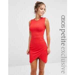 ASOS PETITE - Robe moulante asymétrique sans manches - Rouge
