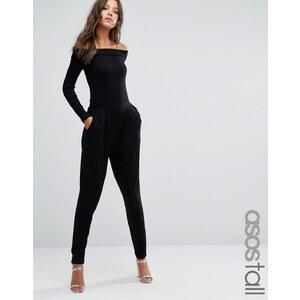 ASOS TALL - Combinaison carotte style Bardot à manches longues - Noir