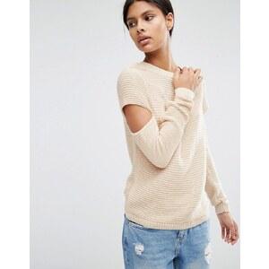 ASOS - Rippstrick-Pullover mit geschlitzten Ärmeln - Rosa