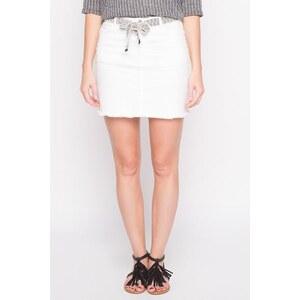 Jupe unie ceinture ethnique Blanc Coton - Femme Taille 34 - Cache Cache
