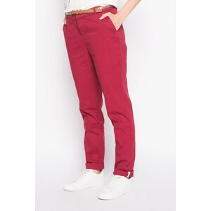 Pantalon chino avec ceinture Rouge Synthetique - Femme Taille 34 - Cache Cache