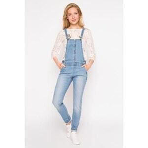Salopette jean used Bleu Coton - Femme Taille 34 - Cache Cache