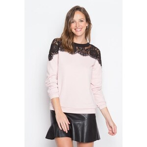 Sweat maille chinée dentelle Rose Polyamide - Femme Taille 0 - Cache Cache