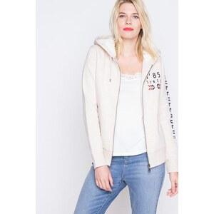 Sweat zippé capuche imprimé placé Beige Coton - Femme Taille 0 - Cache Cache