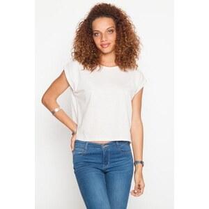 T-shirt rayures fines métallisées Blanc Fil metallise - Femme Taille 0 - Cache Cache