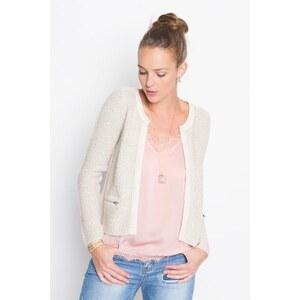 Veste tailleur maille moulinée Beige Fil metallise - Femme Taille 0 - Cache Cache