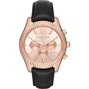 Michael Kors Montres, Unisex Lexington Watch Roseor-Tone Leather Black en rose pâle, noir