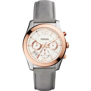 Fossil Montres, Ladies Perfect Boyfriend Chronograph Leather Grey en gris